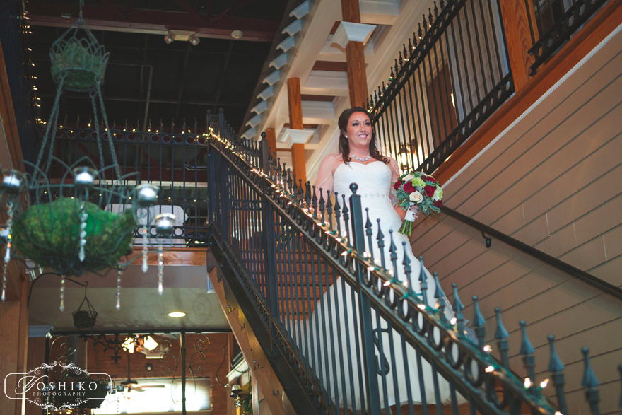 Bride On Two Story Wrought Iron Staircase